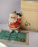 Vintage 1960 Ceramic Spaghett Santa Saver Christmas Money Coin Bank Original Box