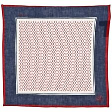 Corneliani Men's 100% Linen Blue & Red Pocket Square Handkerchief Gift for Him