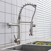 Spring Brushed Nickel Kitchen Sink Faucet Pull Down Sprayer Single Handle Tap