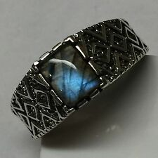 Natural Blue Iridescence Labradorite 925 Solid Sterling Silver Men's Ring 8.75