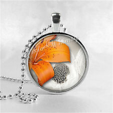 Tiger Lily Orange Flower Necklace Pendant Jewelry, Glass Art Pendant Charm