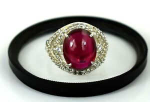 14.11 Ct 925 Silver Ring Natural Oval Cabochon Burma Ruby