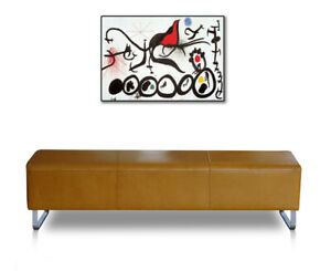 Leather bench for corridor or living room durable quality leather tan brown.