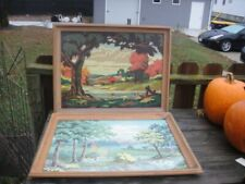 Vintage Pair of 25 x 19 Paint By Number Pbn Framed Pictures Farm Scene Set