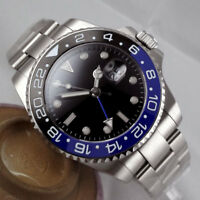 43mm PARNIS Schwarz dial Date Saphirglas GMT Automatisch Movement Uhr mens Watch