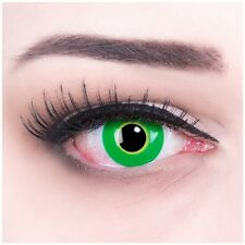 """Fasching Contact Lenses Green """"Ectoplasma"""" Contacts Color Halloween + Free Case"""