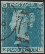 1841 SG14 2d BLUE PLATE 3 VERY FINE USED 4 MARGINS RARE LONDON DUPLEX/CDS (KG)