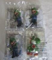 Super Mario Luigi x 3 & Yoshi x 1 Mcdonalds Happy Meal Figures New & Sealed