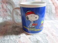 Snoopy Christmas Coffee Mug, Peanuts Snow Skiing w Woodstock, Ski Winter