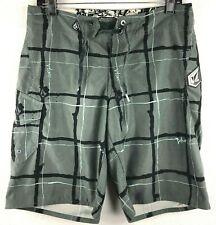 Men's Volcom Gray Swim Shorts Plaid Check Swimwear Trunks Size 28