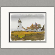 Pemaquid Point Lighthouse Maine Original 8x10 Art Print Matted to 11x14