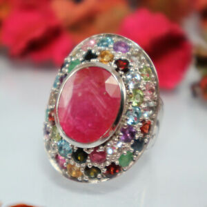 Natural Ruby Multi Color Ring Women 925 Silver Red Real Gemstone White Gold