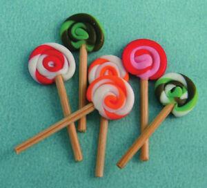 6 Lollypops, Dolls House Miniature, Food Kids Sweets, UK
