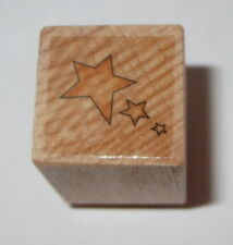 Star Trio Rubber Stamp Stars Celestial Wood Mounted 3/4""