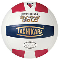 Tachikara SV-5W Red/White/Blue Leather Volleyball