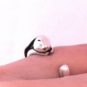 Bunny Ring I Love You to the Moon & Back .925 Sterling Silver Adjustable 5 - 10