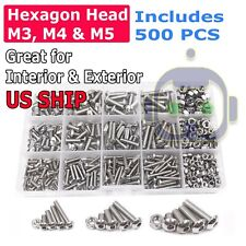 US 500pcs Stainless Steel Hex Socket Cap Head Bolts Screws Nuts M3 M4 M5 304 Kit