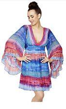 Betsey Johnson BOHO Babydoll Tye Dye Ruffle Kimono Bambi Women's Dress 14 NWT