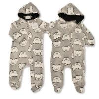 Baby Teddy Bear Hooded Boys Girls All In One Fleece Babygrow Sleepsuit Romper