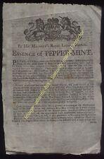 Circa 1767-90 Very Rare ESSENCE of PEPPERMINT, John Juniper Patentee handbill