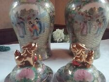 MOST EXCELLENT PAIR OF GINGER JARS~ CHINESE ROSE FAMILLE ~GILT FOO DOG FINIALS