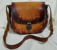 Great Vintage Hand Tooled Stamped Embossed Cut Out Leather Purse Bag Boho