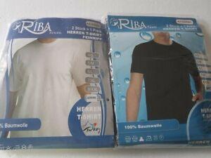 Herren T-Shirt Unterhemd 2er Pack weiß od. schwarz Rundausschnitt Übergrößen