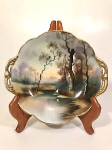 Hand Painted Nippon Bowl Scalloped Gilded Edge Woodland Scene With Swan