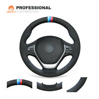 Custom Black Suede Steering Wheel Cover Wrap for BMW F22 F23 3 Series F30 F32
