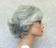 Short Wavy Flip Up Grey/Silver White Heat Ok, Full Synthetic Wig - 129