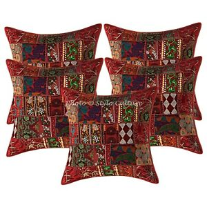 Indian Cotton Bohemian Burgundy 24 x 24 Vintage Patchwork Throw Pillow Covers