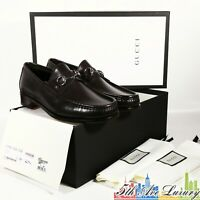 $790 NEW GUCCI MEN'S 1953 HORSEBIT LOAFERS BROWN LEATHER 8.5 G 9 US 42.5 SHOES