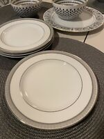 Mikasa Platinum Crown Salad Plates Silver Rim Elegant Set Of 4