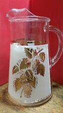 Vintage Glass Pitcher Gold Grapes and Leaves