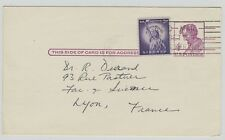 entier postal (postal stationery ganzsache) USA --> France uprated