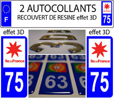 2 stickers plaque immatriculation auto TUNING DOMING RESINE ILE DE FRANCE DEP 75