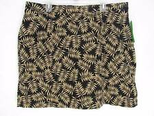 New Allyson Whitmore Golf Skort 18W Black W/ Beige Leaf Design Shorts Skirt 2X
