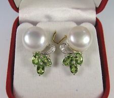 12mm PEARL 3.33 CTW PERIDOT/WHITE SAPPHIRE EARRINGS - WHITE GOLD over 925 SILVER