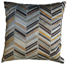 """Embroidered Cushion Cover Jane Churchill Fabric Ellington Grey Yellow Taupe 18"""""""