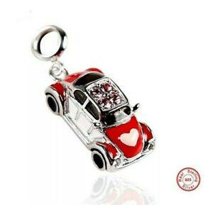 💖 Beetle VW Car Volkswagen Red Genuine S925 Sterling Silver Charm Bead 💖