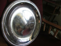 """VINTAGE 17"""" Round Chrome Serving Tray PREOWNED"""