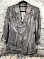 VTG Gianfranco Ferre Silver Womens Wool Silk Blend Blazer Jacket Size 4 Italy