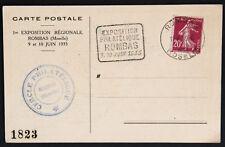 ROMBAS 1935, Exposition Philatélique sur carte postale, flamme Moselle