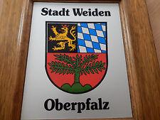 Holz Wandschild Bild Wappen Stadt WEIDEN Löwe bayerischen Rauten und grüne Weide