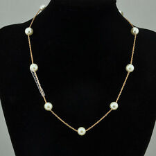New 18K Rose Gold GP Thin Chain with Row of Pearl Ball Pendant Necklace IN188A