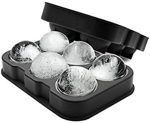 Black Silicone 6 Giant Ice Ball Cube Maker Use for Kids with Candy Pudding Jelly