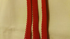 Scallop edge Light lingerie elastic 7 m long by 8 mm wide. Red colour.
