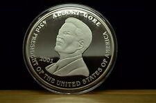 2001 WASHINGTON MINT 8 Troy oz 999 Fine Silver GEORGE W BUSH AL GORE PROOF ROUND