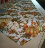 "Table Runner 72"" L x 13"" W Fall Print Pumpkins,pine cones,floral Cotton Handmade"