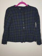 Madewell Womens Flannel Collarless Shirt Size S Green Navy Cotton Wool Blend